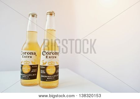 Hai, Ukraine - June 29, 2016: Two Bottles Of Corona Extra, Top  Beers Worldwide Produced By Cervecer