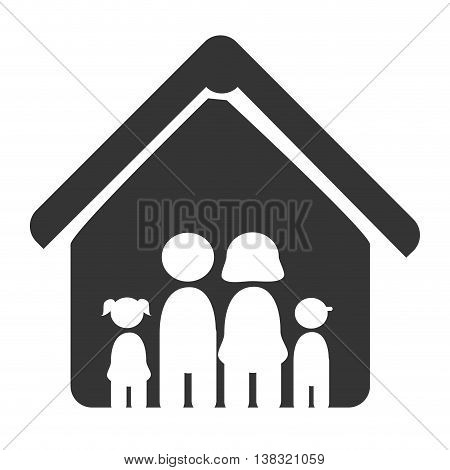 Family and home simbolizing in a pictogram icon with black and white colors, vector illustration.