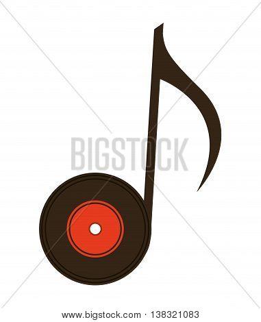 vinyl with note isolated icon design, vector illustration  graphic