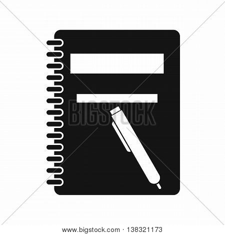 Closed spiral notebook and pen icon in simple style isolated vector illustration