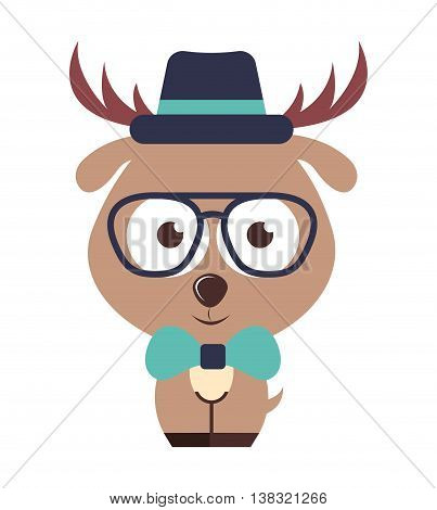 reindeer character hipster style isolated icon design, vector illustration  graphic