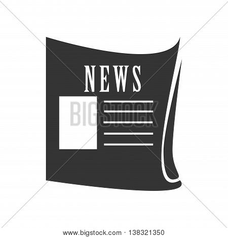 News paper in black and white colors isolated flat icon, vector illustration.