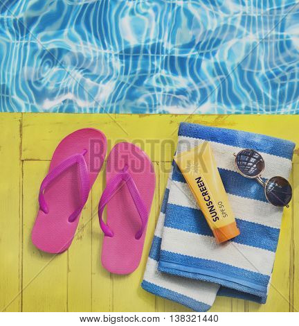 Flipflop Towel Sunglasses SunBlock Sunscreen Concept