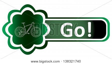 Double icon green bicycle and inscription go