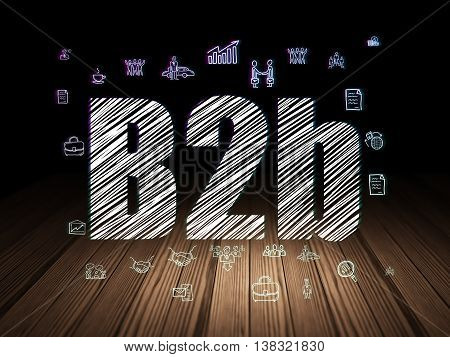 Business concept: Glowing text B2b,  Hand Drawn Business Icons in grunge dark room with Wooden Floor, black background