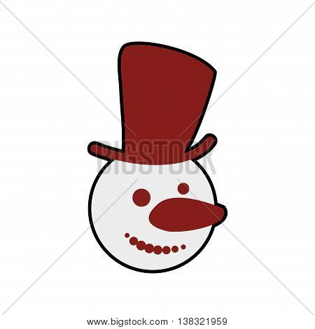Merry Christmas concept represented by snowman icon. Isolated and flat illustration