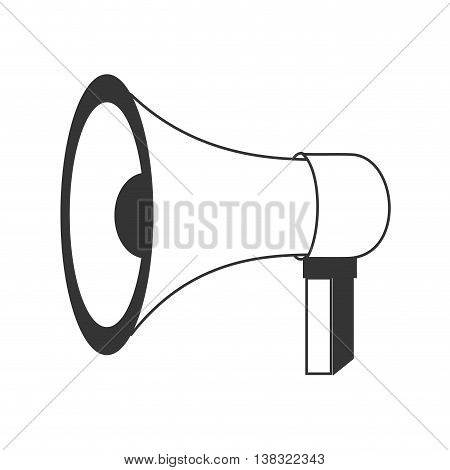 Megaphone or bullhorn isolated flat icon in black and white colors, vector illustration.
