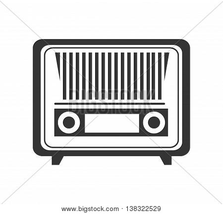 Antique radio stereo in black and white colors isolated flat icon, vector illustration.