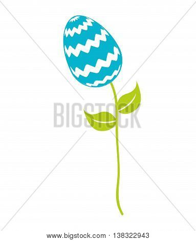 sweet egg paint colorfull over stem  isolated icon design, vector illustration  graphic