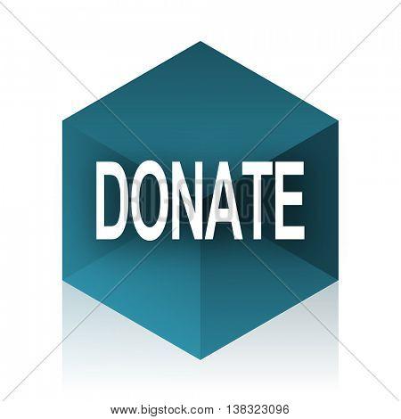 donate blue cube icon, modern design web element