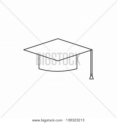 Graduation cap icon in outline style isolated vector illustration