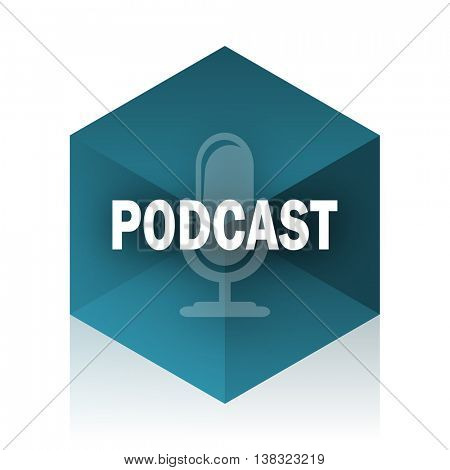 podcast blue cube icon, modern design web element