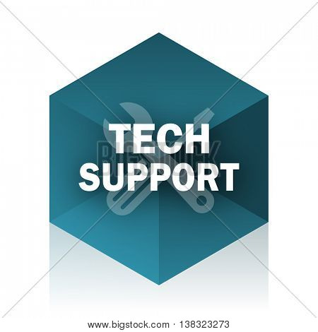 technical support blue cube icon, modern design web element