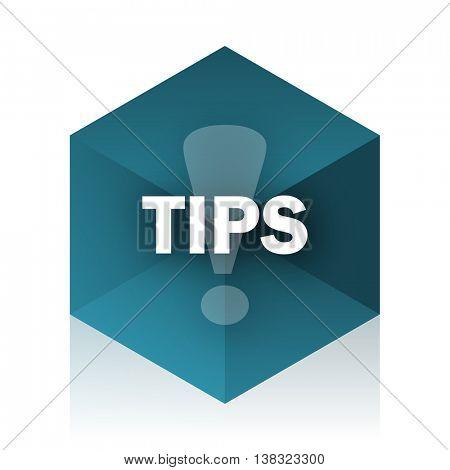 tips blue cube icon, modern design web element