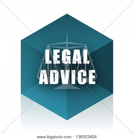 legal advice blue cube icon, modern design web element