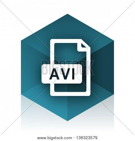 avi file blue cube icon, modern design web element