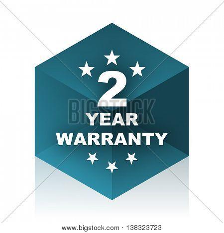 warranty guarantee 2 year blue cube icon, modern design web element