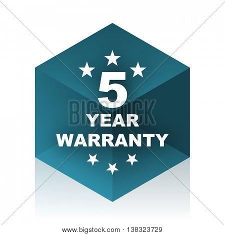warranty guarantee 5 year blue cube icon, modern design web element