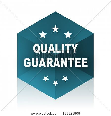 quality guarantee blue cube icon, modern design web element