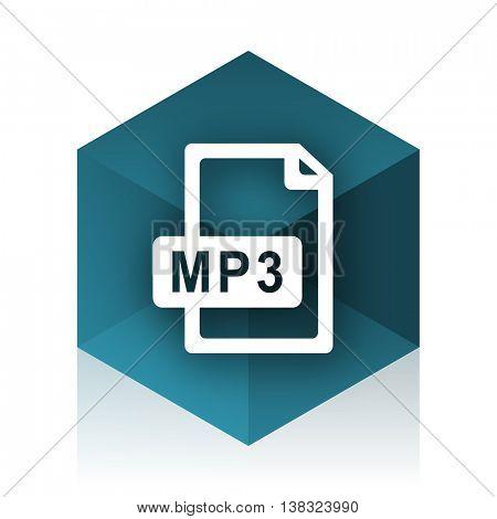 mp3 file blue cube icon, modern design web element