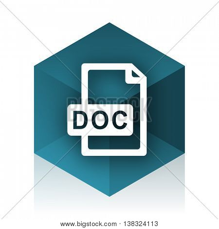 doc file blue cube icon, modern design web element