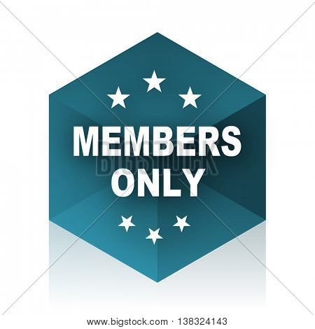 members only blue cube icon, modern design web element
