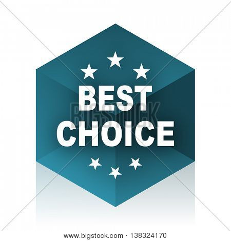 best choice blue cube icon, modern design web element