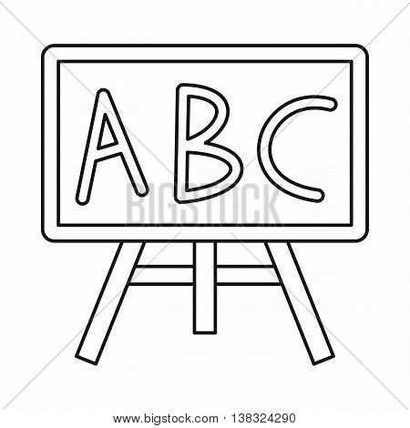 Chalkboard with the leters ABC icon in outline style isolated vector illustration
