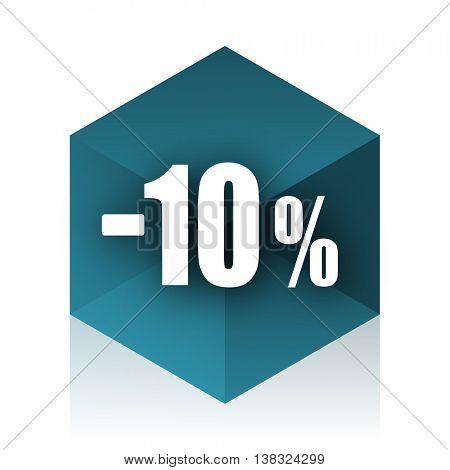 10 percent sale retail blue cube icon, modern design web element