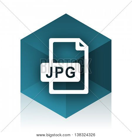 jpg file blue cube icon, modern design web element
