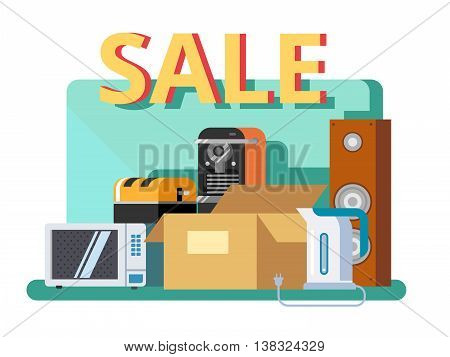 Cyber monday concept. Discount offer, retail commerce, marketing electronic, promotion special, flat vector illustration