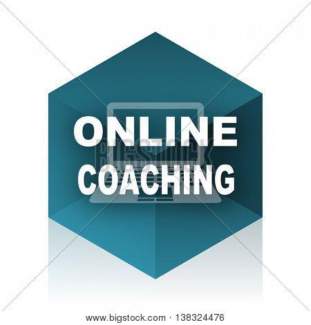 online coaching blue cube icon, modern design web element