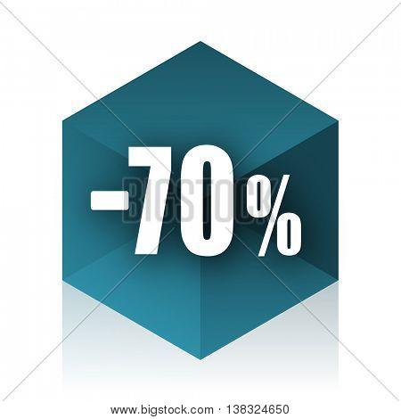 70 percent sale retail blue cube icon, modern design web element