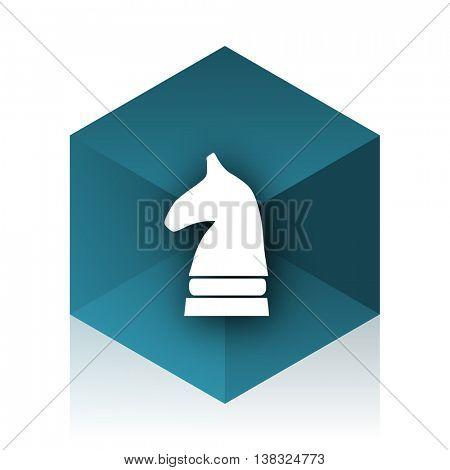 chess horse blue cube icon, modern design web element