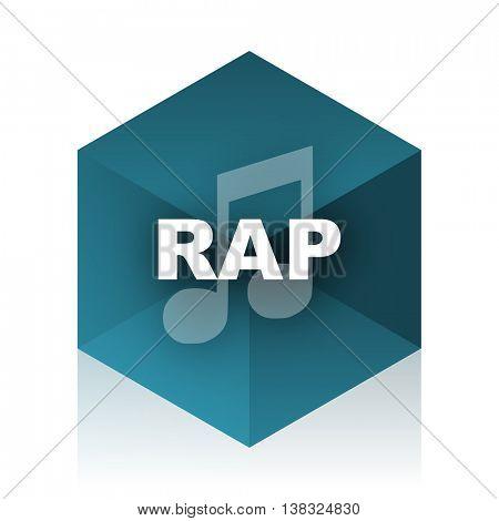 rap music blue cube icon, modern design web element