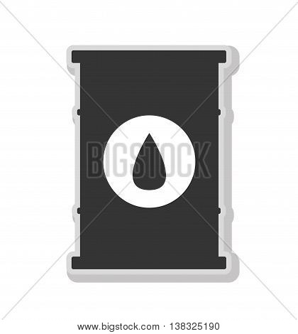 Oil barrel in black and white colors isolated flat icon, vector illustration.