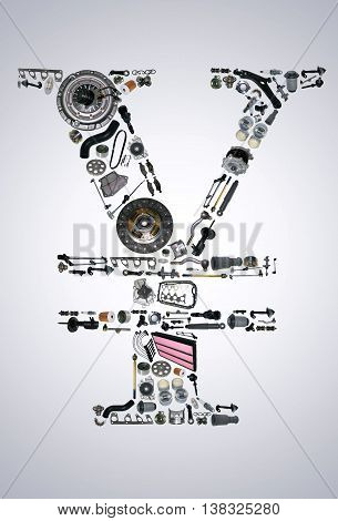 Japan yen money with auto parts for car. Spare parts for car for shop, aftermarket OEM. Yen icon. Many auto parts isolated in money japan yen