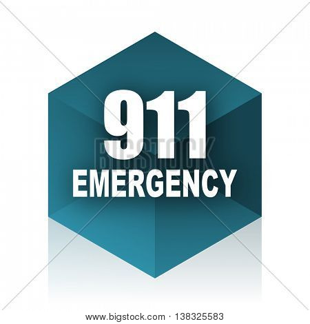 number emergency 911 blue cube icon, modern design web element