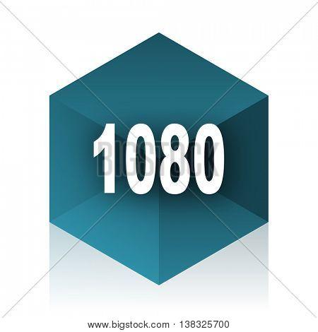 1080 blue cube icon, modern design web element