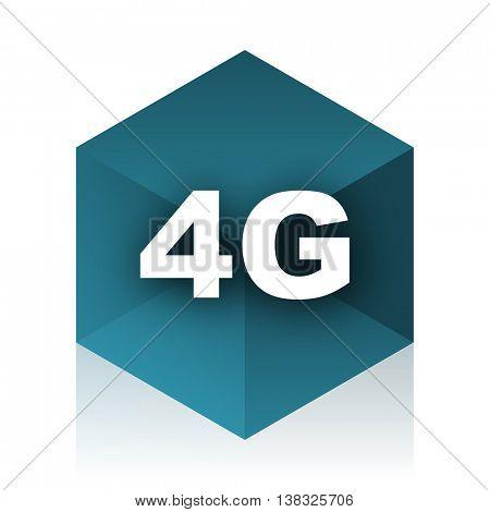 4g blue cube icon, modern design web element