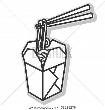 Chinese food box in black and white colors isolated flat icon, vector illustration.