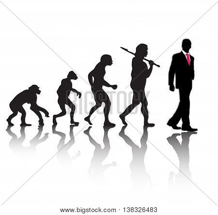 Human evolution. Successful businessman on white background. Vector illustration
