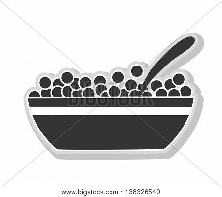 cereals in black and white colors isolated flat icon, vector illustration.