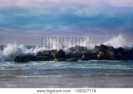 Stormy ocean waves beautiful seascape big powerful tide in action storm weather in a deep blue sea forces of nature natural disaster.ocean wave in the Pacific ocean