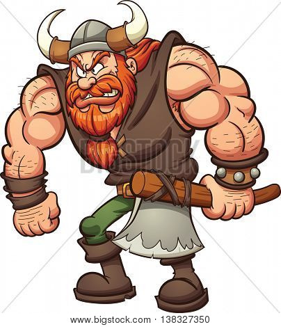 Cartoon Viking holding an axe. Vector clip art illustration with simple gradients. All in a single layer.