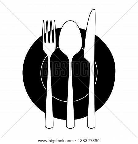 Fork, knife and spoon on a plate. Minimalistic icon. Symbol of cutlery. Vector illustration