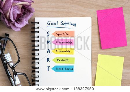 Hand writing definition for smart goal setting on notebook with eye glasses purple rose and colorful sticky note on desk