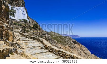 Spectacular monastery Panagia Hozovitissa on the cliff, Amorgos