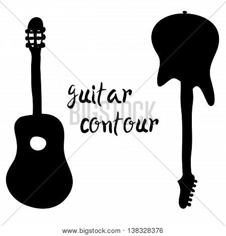 A vector silhouette of an electric and acoustic guitar