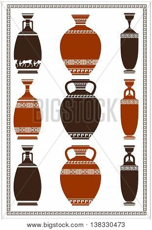 Illustration of greek ancient vases with meanders